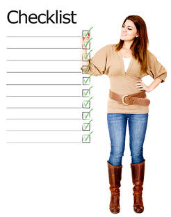 Woman ticking on a checklist - isolated over a white background-1